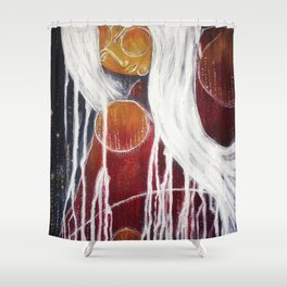 Storm Goddess // Woman Feminine Abstract White Lightning Electric Energy Power Red Fire Nature Earth Shower Curtain