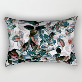 Inverted Floral - Green, Red, White leaves, leaf print, kitchen, bathroom Rectangular Pillow