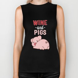 I Enjoy Wine And Pigs Biker Tank