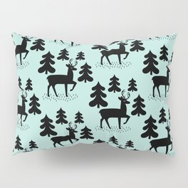 Deer In The Forest Blue Pattern Pillow Sham