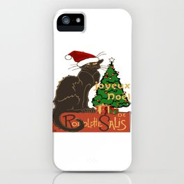 Joyeux Noel Le Chat Noir With Tree And Gifts iPhone Case