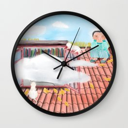 Watercolor Illustration of a boy playing with cats on the roof Wall Clock