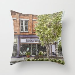 City streetscape watercolor Throw Pillow