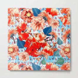 Geometric Flowers and Bees Metal Print