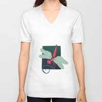 dragonfly V-neck T-shirts featuring Dragonfly by Justin McElroy