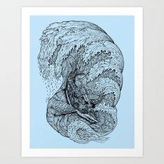 i only surf on SHARKS! Art Print