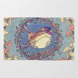 Small Bird With Wildflowers And Holly Wreath Rug