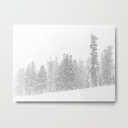 Snowy Slope // Mountain Ski Landscape Photography Black and White Snowboarding Winter Decor Metal Print