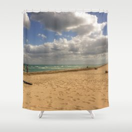 Puffy Clouds at Hollywood Beach Shower Curtain