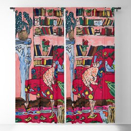 Ginger Cat in Embroidered Red Armchair with Staffordshire Spaniel in Book-Lined Room Interior Painting Blackout Curtain