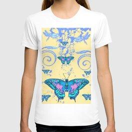 ORNATE BLUE BUTTERFLIES SCROLL DESIGNS  ART T-shirt