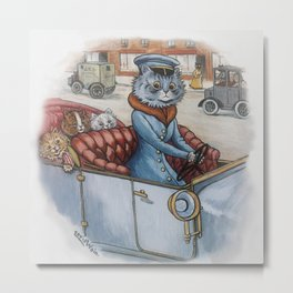 Louis Wain - The Cat Chauffeur Metal Print