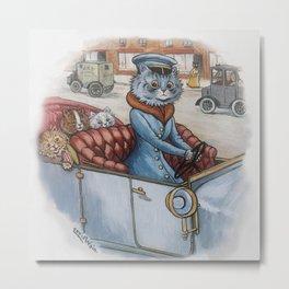 Louis Wain - The Cat Chauffeur Metal Print