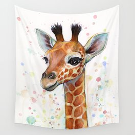 Giraffe Baby Watercolor Wall Tapestry