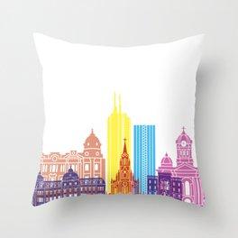 Santiago de Cali skyline pop Throw Pillow