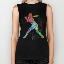 Baseball Softball Player Sports Art Print Watercolor Print Girl's softball Biker Tank