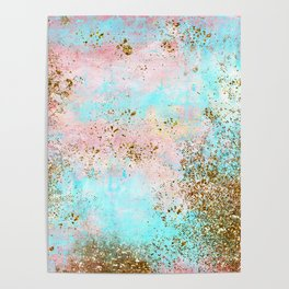Pink and Gold Mermaid Sea Foam Glitter Poster