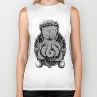 cthulu Biker Tanks featuring The Octopus KIng by StinkBrain