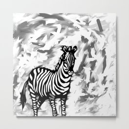 ZEBRA BLACK AND WHITE Metal Print