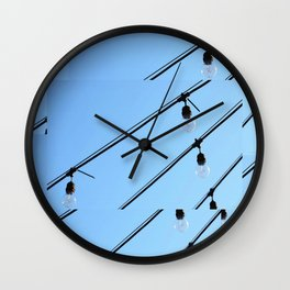 Light Bulb Art - Hanging Lights On Blue - Sharon Cummings Wall Clock