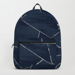 Midnight Navy Blue Ink Silver Geometric Glam #1 #geo #decor #art #society6 Backpack
