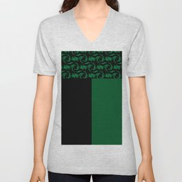Abstract combo black and green decor Unisex V-Neck