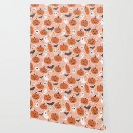Pumpkin Party on Blush Pink Wallpaper