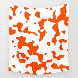 Large Spots - White and Dark Orange Wall Tapestry