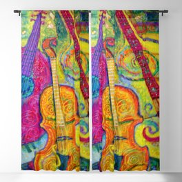 ROSE GUITAR & MUSIC INSTRUMENTS PAINTING Blackout Curtain