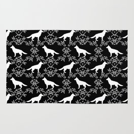 German Shepherd florals dog lovers dog silhouette floral pet pattern dogs Rug