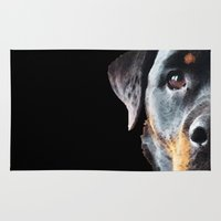 rottweiler Area & Throw Rugs featuring Rottie Love - Rottweiler Art By Sharon Cummings by Sharon Cummings