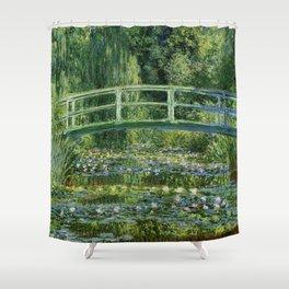 Water Lilies and Japanese Footbridge, Claude Monet Shower Curtain