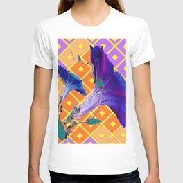 Decorative Purple-Gold Morning Glory Pattern T-shirt