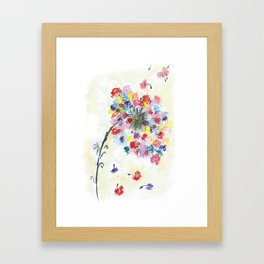 Dandelion watercolor illustration, rainbow colors, summer, free, painting Framed Art Print