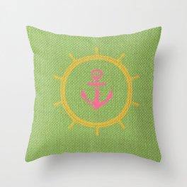 Lime Anchoria Throw Pillow