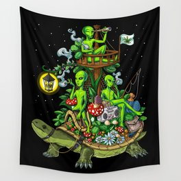 Psychedelic Aliens Space Trip Wall Tapestry