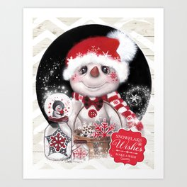 Snowflake Wishes Snowman Art Print