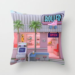 Roller Skate Nostalgia Throw Pillow