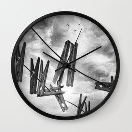 Clothespins Wall Clock