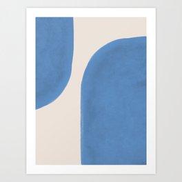 Painted Shapes - Blue Minimalist Art Print