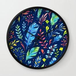 Boho Chic Blue by Mimi Bondi Wall Clock