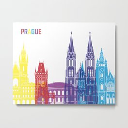Prague skyline pop Metal Print