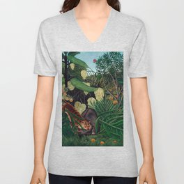 Henri Rousseau - Fight between a Tiger and a Buffalo Unisex V-Neck
