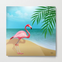 FLAMINGO BEACH Metal Print