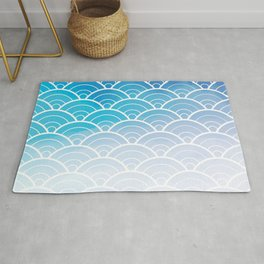 Blue Ombre Japanese Waves Pattern Rug