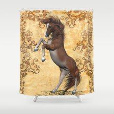 Awesome brown horse  Shower Curtain