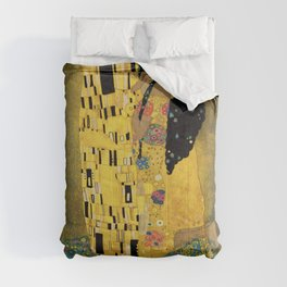 Curly version of The Kiss by Klimt Comforters
