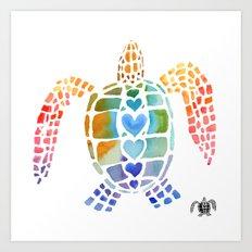 Hug a Sea Turtle Art Print