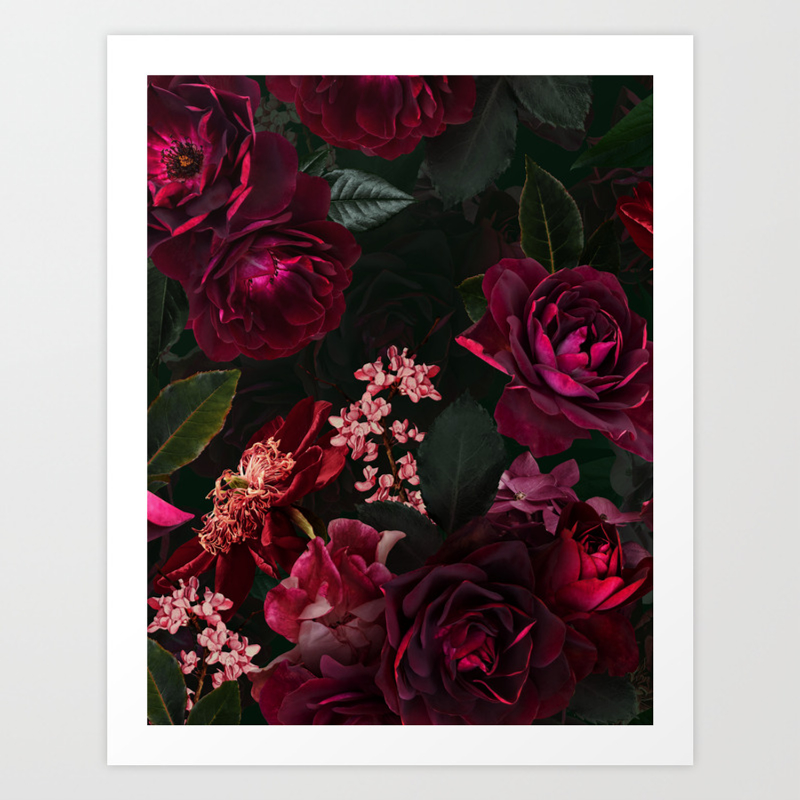 Vintage Shabby Chic Night Botanical Flower Roses Garden Art Print By Vintage Love Society6