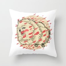 Pomeranian in Autumn Throw Pillow
